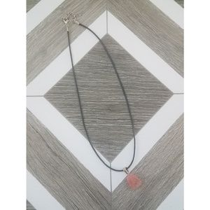 NWOT Pink Stone Black Chord Necklace